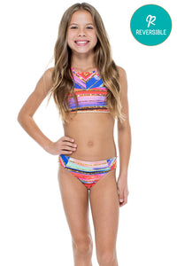 BELLAMAR - Reversible High Neck Top Ruched Back Bikini • Multicolor