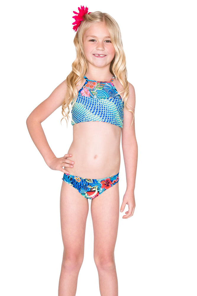 INKED BABE - Ink Mesh High Neck Top Ruched Back Bikini • Multicolor
