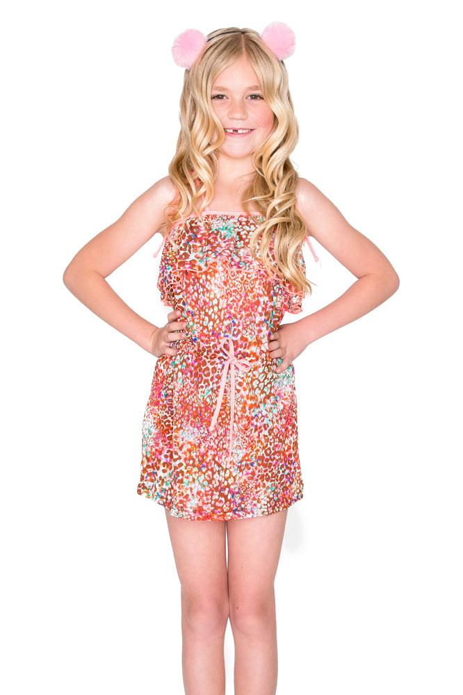 UNTAMEABLE - Criss Cross Back Drawstring Short Dress • Multicolor