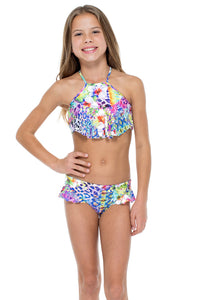 GUAJIRA SUPERSTAR - T Back Ruffle High Neck Top Bikini • Multicolor
