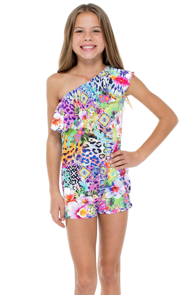 GUAJIRA SUPERSTAR - One Shoulder Ruffle Romper • Multicolor
