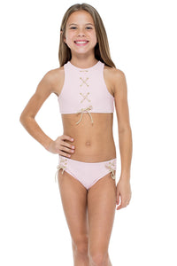LA CORREDERA - Eyelets Lace Up High Neck Top Bikini • Niña