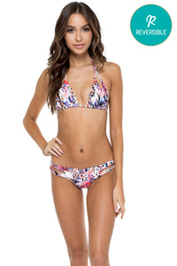 CIENFUEGOS - Zig Zag Knotted Cut Out Triangle Top & Reversible Zig Zag Open Side Moderate Bottom • Multicolor