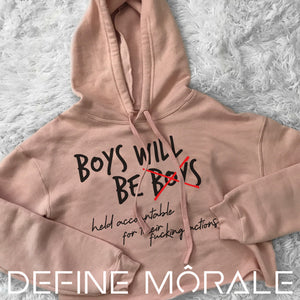 Boys Will Be Accountable (Mauve/ Peach) Crop Hoodie