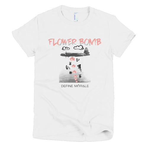 Flower Bomb (White) - Short Sleeve Women T-Shirt