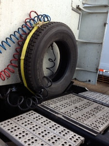 Installed on Freightliner Back of cab Semi truck spare tire carrier rack for tractor trailers