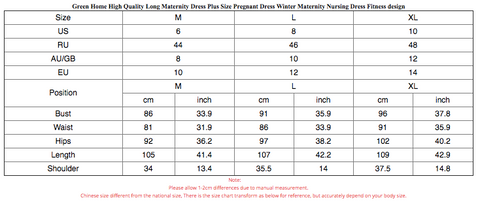 All About Maternity Dresses Size Chart