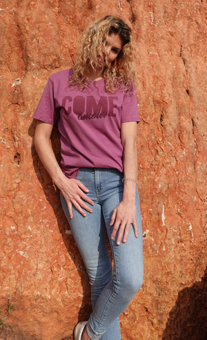 T-shirt Mauve ''Come Amour""