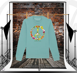 Sweat couleur teal dessin peace