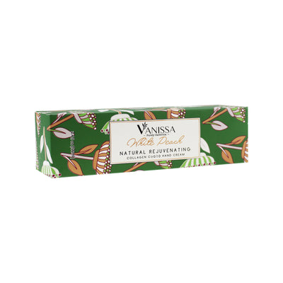 Vanissa Natural Hand Cream - White Peach Scent - Made with Shea Butter, Jojoba Oil, Collage, & CoQ10