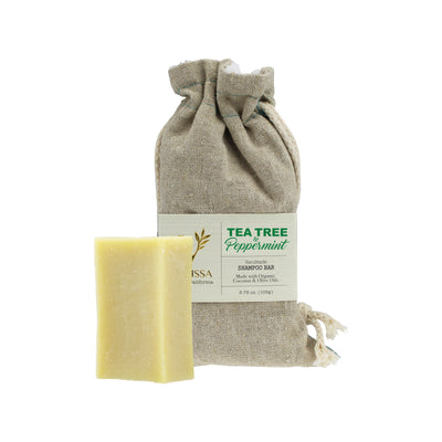 Vanissa Organic Soap Bar - Shampoo Bar - Tea Tree & Peppermint - Made with Certified Organic Ingredients