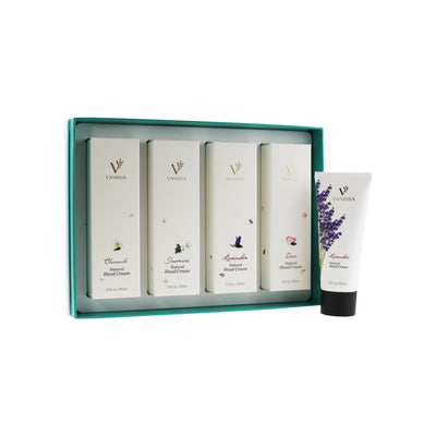 Vanissa Natural Hand Cream Gift Set - Rose, Chamomile, Lavender, & Jasmine Scents - Made with Shea Butter & Jojoba Oil - 4 Piece Gift Set