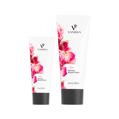 Vanissa Natural Hand Cream - Rose Scent - Made with Shea Butter & Jojoba Oil