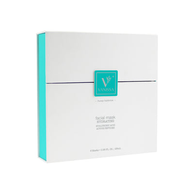 Vanissa hydrating Facial Masks - Peel Off Cloth Face Mask - Hyaluronic Acid & Bioactive Peptides - Gift Set