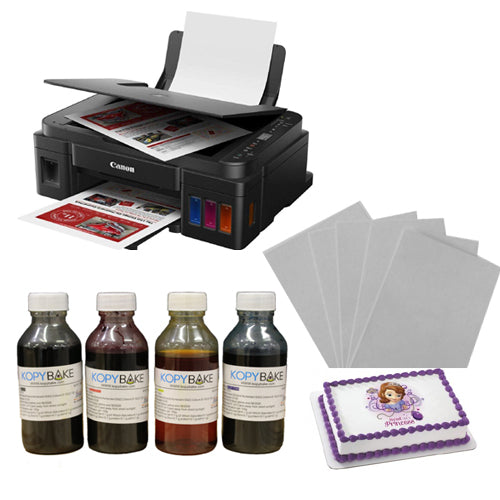 Canon Pixma G-3010 All in One Cake Edible Tank Printer Complete Set Including 4 Edible Ink Bottles (CMYK,400ml) & 25 Icing Sheets - Kopybake