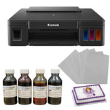 Canon Pixma G-2012 Edible Tank Printer (with Scanner) Complete Set Including 4 Edible Ink Bottles (CMYK,400ml) & 25 Icing Sheets - Kopybake