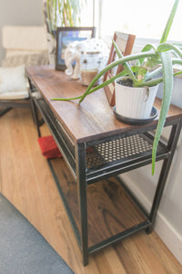 Wood + Steel Sofa Table
