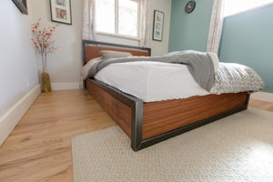 Wood + Steel Platform Bed Frame