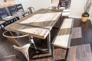 Steel Belt Dining Table + Bench