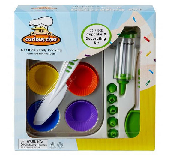 Curious Chef: 16 Piece Cupcake and Decorating Kit