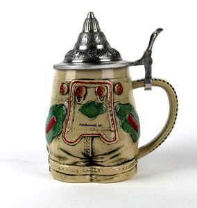 German Lederhosen Stein with Lid