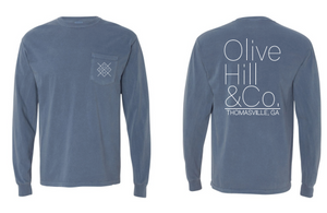 Blue Jean Colored Long Sleeve Shirt - Olive Hill & Co.