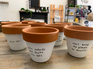 Small Terra Cotta Plant Pot Pun
