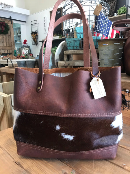 Cowhide Panel Tote - Olive Hill & Co.