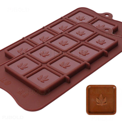 Marijuana Leaf Chocolate Bar Silicone Candy Mold Trays, 2 Pack