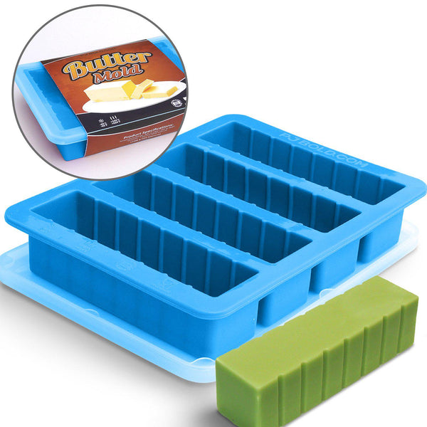 Silicone Butter Mold Tray with Lid, Blue