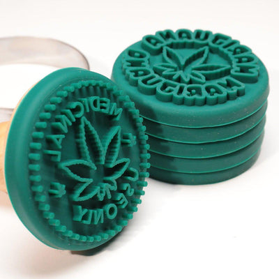 Marijuana Silicone Cookie Stamps, Cookie Cutter, Wood Handle, 6 Stamp Set