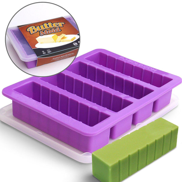 Silicone Butter Mold Tray with Lid, Purple