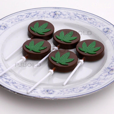 Marijuana Leaf Lollipop Silicone Candy Mold Tray, 2 Pack