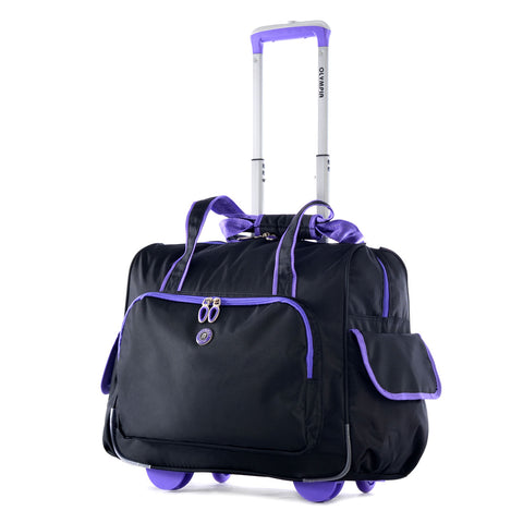 Olympia Outdoor Travel Laptop Briefcase Deluxe Fashion Rolling Overnighter Purple