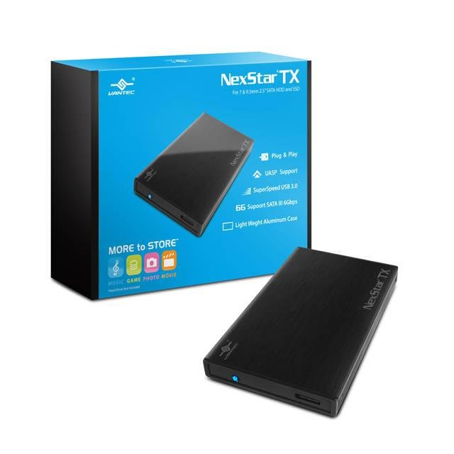 Vantec NexStar TX NST-228S3-BK 2.5 inch SATA3 to USB 3.0 External Hard Drive Enclosure (Black)