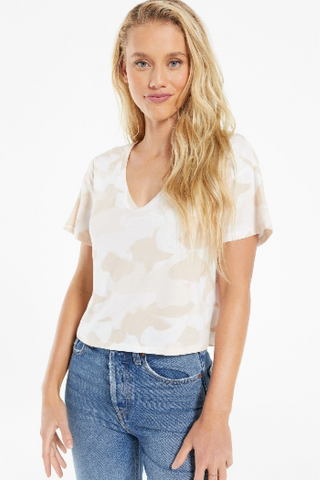 PARKER PAINTED CAMO V- NECK TEE
