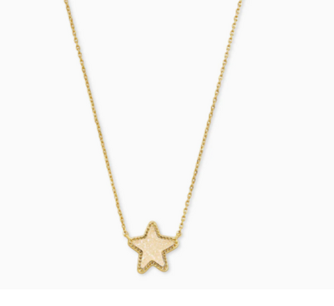 Jae Star Gold Extended Length Pendant Necklace In Iridescent Drusy