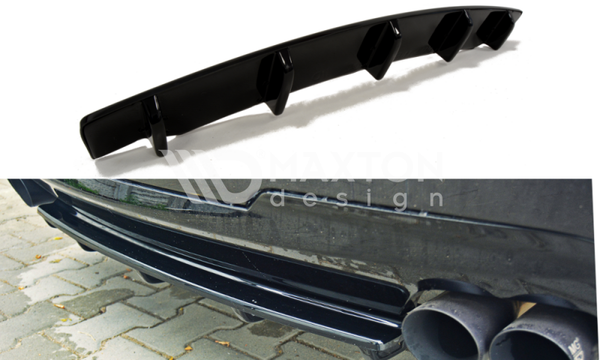BMW - 5 Series - F10 / F11 - M Pack - Center Rear Splitters - With Vertical Bars (fits two double exhaust tips)