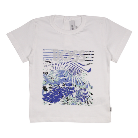 Hugo Boss Kid's White Abstract Palm Waves S/S T-Shirt (S04)