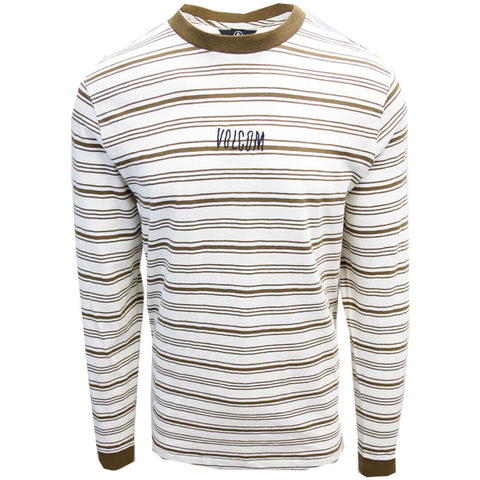 Volcom Men's White Flash Flexure Crew L/S T-Shirts (S02)