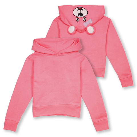 Wild Child Hoodies Kid's Neon Pink Bear Pull Over Hoodie (S05)
