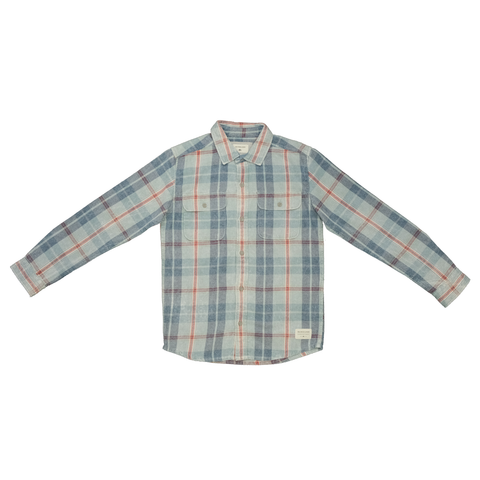 Quiksilver Boy's Pastel Blue Red L/S Flannel Shirt (S03)