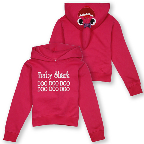 Wild Child Hoodies Kid's Pink Shark Baby Shark Pull Over Hoodie (S03)
