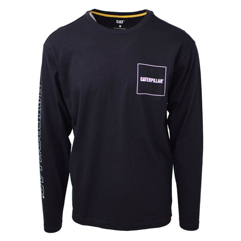 Caterpillar Men's Black Box Trademark Banner L/S T-Shirt S03