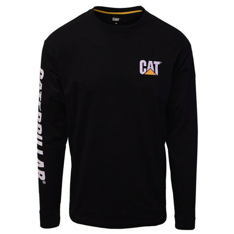 Caterpillar Men's Black Trademark Banner L/S T-Shirt S01