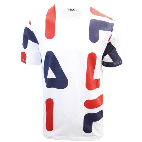 FILA Men's White Red Navy Letters S/S T-Shirt (S02D)
