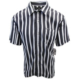 OBEY Men's Black & Indigo Vertical Striped S/S Woven S09