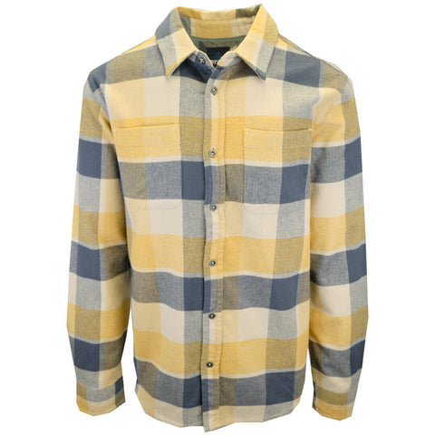 prAna Men's Navy Yellow Beige Plaid L/S Flannel Shirt (S01)