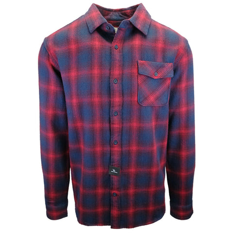 Rip Curl Men's Navy Red Plaid L/S Flannel Shirt (S08)