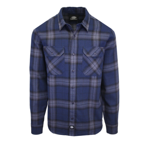 Dickies Men's Navy Blue & Black Plaid Brownsburg L/S Flannel Shirt (S08)